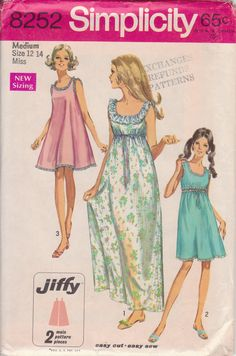 1960s Simplicity Nightgown Pattern