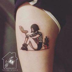 Lovely Leon The Professional tattoo by Haemin. Mini Tattoos, Body Art Tattoos, New Tattoos, Small Tattoos, Cool Tattoos, Tatoos, Sleeve Tattoos, Tattoo Girls, Tatuagem Old School