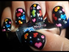 ▶ Easy Colorful Hearts Nails! ❤ / Diseño de corazones coloridos - YouTube