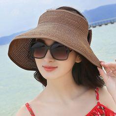 f38f3f01 Women Foldable Bowknot Empty Top Wide Brim Beach Sun Straw Hat Outdoor  Summer Travel Visor Cap is hot sale on Newchic.