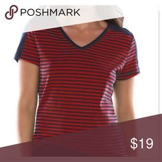 Chaps Striped V-Neckline Tee This cute top by Chaps delivers classic style! Features a striped pattern and solid shoulder insets. Cotton, machine wash. Size X-Small. NWT. Chaps Tops Tees - Short Sleeve