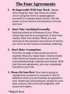 The Four Agreements by Don Miguel Ruiz is one of my favorites Inspirierender Text, Quotes To Live By, Life Quotes, Wisdom Quotes, Happiness Quotes, Happiness Book, Zen Quotes, Meditation Quotes, Lesson Quotes