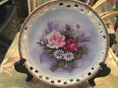 Vintage Floral Porcelain Collector Plate, Hand Painted Plate, Signed Collector Plate, 8 inch Plate, Porcelain Wall Hanging