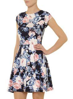 Navy floral boxpleat dress