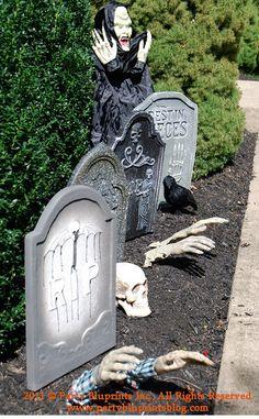Spooky Outdoor Halloween Decor Gravestones, graveyard