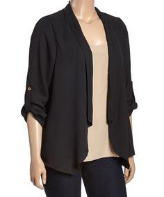 Zenobia Black Roll-Tab Sleeve Blazer - Plus by Zenobia #zulily #zulilyfinds