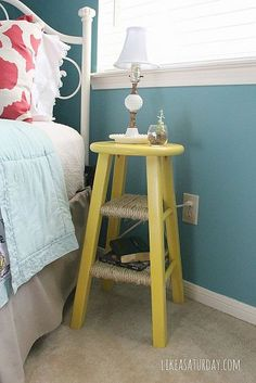 Turn an old barstool into a darling side table! Wrap rope around lower foot rests to create a couple shelves! - I could do this. I've got two of them just sitting around.