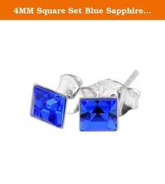 4MM Square Set Blue Sapphire Crystal SEPTEMBER Birthstone 925 Sterling Silver Stud Earrings. Product Materials : 925 Sterling Silver | Stone Size Available from 3mm to 4mm | HighQuality Rhinestone | Crystal Stone Color : Blue Sapphire For Your SEPTEMBER Birth Month |.