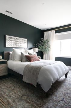 Dark Green Guest Room with Boho Style I'm finally done designing this amazing bedroom space! Come take a look at the before and after of this dark green guest room in Chicago. Green Bedroom Walls, Green Master Bedroom, Bedroom Decor Dark, Master Bedroom Makeover, Small Room Bedroom, Room Ideas Bedroom, Master Bedroom Design, Home Bedroom, Small Rooms