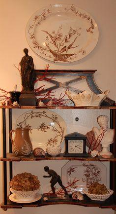A mix of brown transferware, jasper, creamware, and chinoiserie.
