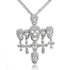 EVER FAITH Posh Skull Cross Austrian Crystal Clear Pendant Necklace  http://www.amazon.com/dp/B00B7SK52W/ref=cm_sw_r_pi_dp_f6iUvb09QZDP0