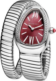 Bvlgari Serpenti Tubogas Stainless Steel and Diamond Watch