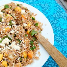 Farro with Peaches, Mint and Feta - a great lunch for hot days