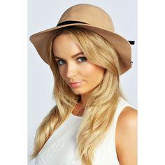 Boohoo Victoria Small Floppy Hat With Velvet Trim