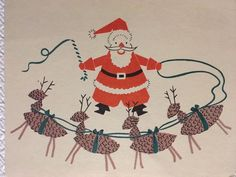 Santa with sack of presents and tree, four child angels helping him. This card is signed, see photos for details. Vintage Christmas Cards, Christmas Greeting Cards, Christmas Greetings, Santa And His Reindeer, Reindeer Christmas, Card Ideas, Tape, Flaws, Mid Century