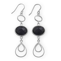Textured Pear Drop Earrings with Black Onyx