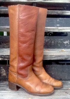 Vintage Frye 70's Ladies Tall Riding Kickaround Boots Brown Patina Leather 7.5B in Clothing, Shoes & Accessories, Women's Shoes, Boots | eBay