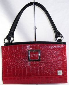 New Miche Classic Shell Face Ellie Buckle Red Croc Silver Hardware Retired #Miche #Ellie