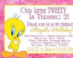 Tweety Bird Birthday Party Invitation - Digital File - Tweety Bird Invitation…