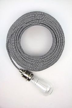 Grey fabric covered electrical cloth textile cord cable braided ...