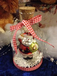 Christmas Ornament Santa in a bottle