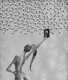 Este artista desenmascaró alasociedad moderna: sus obras son pesadas ehipnotizantes alavez Satirical Illustrations, Social Art, Social Media, Thought Provoking, Les Oeuvres, Illustration Art, Artsy, Sketches, The Incredibles