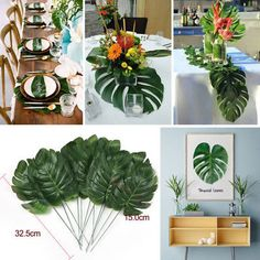 Tropical Palm Leaves Artificial Hawaiian Beach Table Decoration Home Party for sale online Hawaiian Luau Party, Hawaiian Theme, Tropical Party, Beach Table Decorations, Hanging Decorations, Havana Nights Party, Tropical Home Decor, Tropical Furniture, Tropical Interior