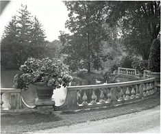 """Pond at the house entrance of """"Thornedale,"""" Millbrook, New York,1919, by Frances Benjamin Johnston,viaLibrary of Congress Prints and Photographs Division."""