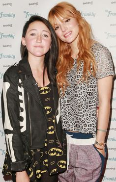 Bella Thorne posing with Miley Cyrus' younger sister, Noah, at the DigiFest LA at the Hollywood Palladium in Los Angeles on December 14, 2013