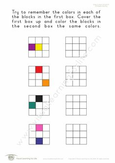 """In the """"Copy 2 Colours/Colors 3x3 Grid"""" worksheets, the student must copy the colours/colors to the open box from memory. Learning For Life, Visual Learning, Visual Memory, Try To Remember, 2 Colours, Worksheets, Grid, Relationship, Student"""
