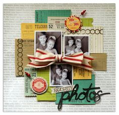 like the idea for using up tags - favorite photos by bluestardesign at Studio Calico #scrapbooking #layout