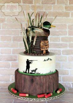 Mallard duck groom's cake (shells made from fondant; duck made from rice krispie. - Mallard duck groom's cake (shells made from fondant; duck made from rice krispie… - Duck Hunting Cakes, Hunting Birthday Cakes, Hunting Grooms Cake, Duck Hunting Wedding, Hunting Party, Shotgun Shell Cake, Shotgun Shells, Cupcakes, Cupcake Cakes
