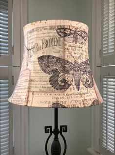 French Lamp Shade Eclectic Script Country Oval