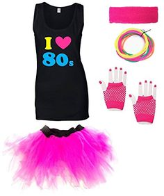 I LOVE THE 80s Ladies Outfit with Vest - Sizes from 8 to 16