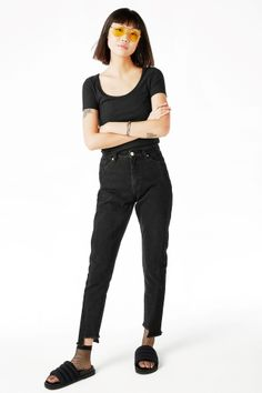 Monki Image 2 of Wide collar ribbed t-shirt in Black