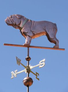 """Bulldog, Standing Dog Weathervane by West Coast Weather Vanes.  We can use a combination of copper, brass, gold leaf and palladium leaf to match the markings on your bulldog weathervane. You can see a portrait weathervane of """"Winston"""" here where we used gold leaf to match his light markings."""