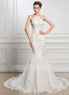 Trumpet/Mermaid Scoop Neck Chapel Train Tulle Lace Wedding Dress With Beading Sequins (002056962) - JJsHouse