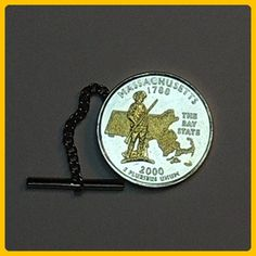 Massachusetts Statehood Quarter - Gorgeous 2-Toned Gold on Silver Coin - Tie tacks - Groom cufflinks and tie clips (*Amazon Partner-Link)
