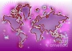 World Map Amuza In Pink And Purple by elevencorners. World map wall print decor. #elevencorners #mapamuza