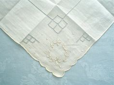 Unused Hankie with Drawnwork Squares and Flower Embroidery Vintage Handkerchief with Label