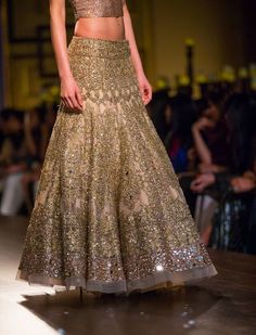 Manish Malhotra- gold heavily embroidered lengha- the subtle mirror work is great- lovely option for a traditional reception look Indian Bridal Wear, Indian Wedding Outfits, Pakistani Outfits, Bridal Outfits, Indian Outfits, Indian Wear, Bridal Dresses, Bride Indian, Ethnic Fashion