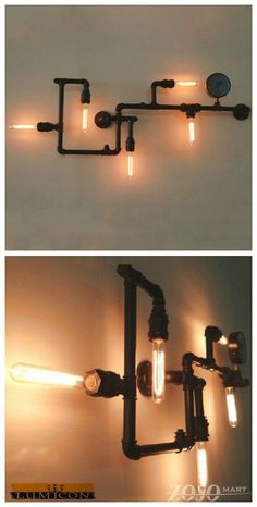 New arrival--Industrial Steam Punk Pipe Wall Lights-This fixture is a piece of art that will be loved and admired by all. Click this link for more information: http://www.zosomart.com/home-living/lamps-lighting/restoration-new-sleek-industrial-vintage-wall-mount-pipe-light.html
