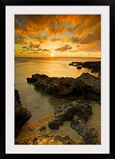 GreatBIGCanvas Sunset at Frog rock Pingtung Taiwan Photographic Print with Black Frame 24 x 36 >>> Details can be found by clicking on the image.Note:It is affiliate link to Amazon.