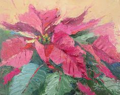 Artists Of Texas Contemporary Paintings and Art: Pink Poinsettia, New Contemporary Floral Painting ...