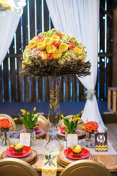 Lavish Dulhan South Asian bridal magazine photo shoot at Cambium Farms; tall vase wedding centrepiece with yellow & pink roses and twigs. Asian Bridal, Tall Vases, Wedding Centerpieces, Farms, Pink Roses, Photo Shoot, Magazine, Table Decorations, Yellow