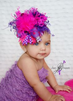 Over the Top Hot Pink & Purple Hair Bow