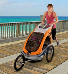 double jogger with bike trailer conversion at Costco for $200.   super lightweight and folds practically flat.