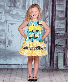 Love this Teal & Yellow Lilac Sophia Dress - Infant, Toddler & Girls by Jelly the Pug on #zulily! #zulilyfinds