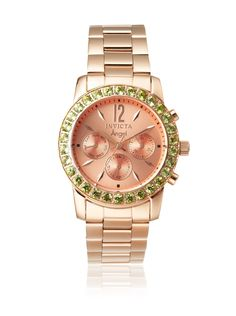 Invicta Women's 14161 Angel Rose Peridot Stainless Steel Watch High-shine stainless steel with 18K rose gold ion plating, oversize case trimmed in peridot gems displays a sunburst chronograph dial; manufacturer 1-year limited warranty # # #