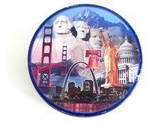 Vintage American Landmarks Cookie Tin, Golden Gate Bridge, Rushmore, Statue of Liberty, Round Metal Storage Tin, Souvenir by FoxLaneVintage on Etsy Cookie Tin, Eclectic Decor, Golden Gate Bridge, Statue Of Liberty, Decor Ideas, American, Storage, Metal, Vintage